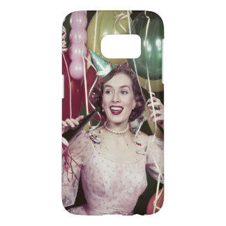 1950s Happy Woman In Party Dress at New Years Eve Samsung Galaxy S7 Case