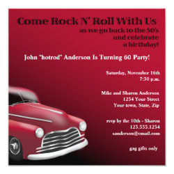 1950's Hot Rod Birthday Party Invitation
