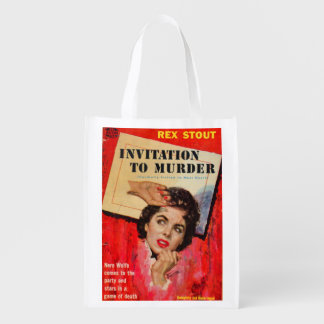 1950s Invitation to Murder Reusable Grocery Bags