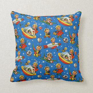 1950s Kids in Space -UFOs and Rockets Throw Pillow