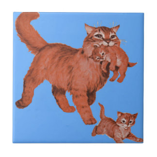 1950s kitty cat mama and little kittens ceramic tile