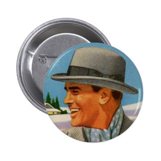 1950s man in his fedora button