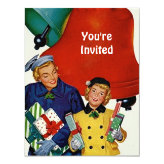 1950s Mom and Daughter Xmas Shopping 4.25x5.5 Paper Invitation Card