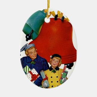 1950s Mom and Daughter Xmas Shopping Ceramic Ornament