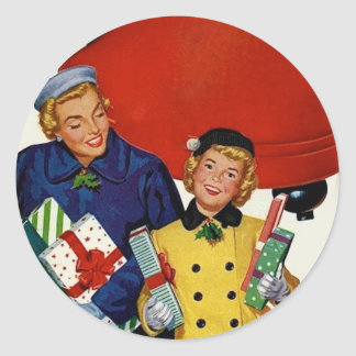 1950s Mom and Daughter Xmas Shopping Classic Round Sticker