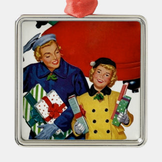 1950s Mom and Daughter Xmas Shopping Metal Ornament