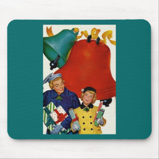 1950s Mom and Daughter Xmas Shopping Mouse Pad