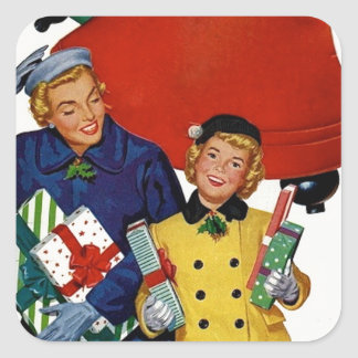 1950s Mom and Daughter Xmas Shopping Square Sticker