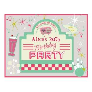 1950s Party Invitation Postcard