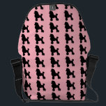 """1950&#39;s Pink Poodle Messenger Bag<br><div class=""""desc"""">Break out your bobby socks and saddle shoes and start dancing! This 1950&#39;s Poodle Skirt Inspired Messenger Bag looks like a classic 1950s poodle skirt. The design features the repeating image of a black silhouette of a poodle on a pink background. It&#39;s beginning to look a lot like the 1950s!...</div>"""