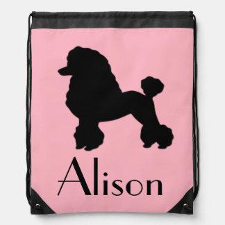 1950s Pink Poodle Skirt Drawstring Backpack