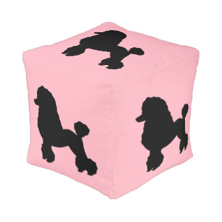 1950's Pink Poodle Skirt Inspired Cube Pouf
