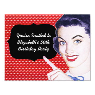 1950s Pointing Woman Birthday 4.25x5.5 Paper Invitation Card