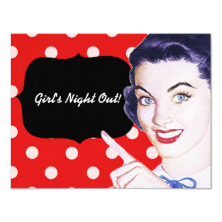 1950s Pointing Woman 4.25x5.5 Paper Invitation Card