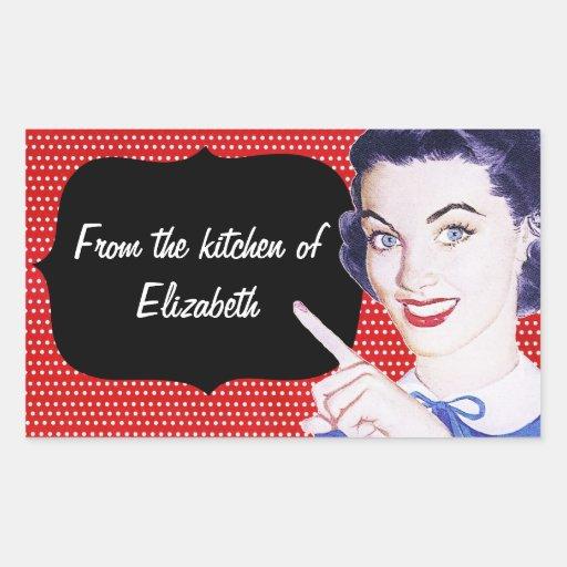 1950s Pointing Woman Kitchen Rectangular Sticker
