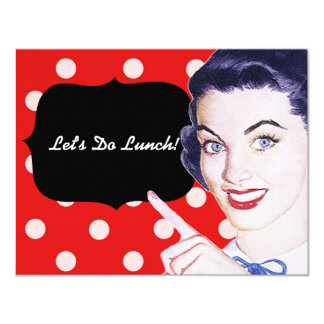 1950s Pointing Woman Luncheon 4.25x5.5 Paper Invitation Card