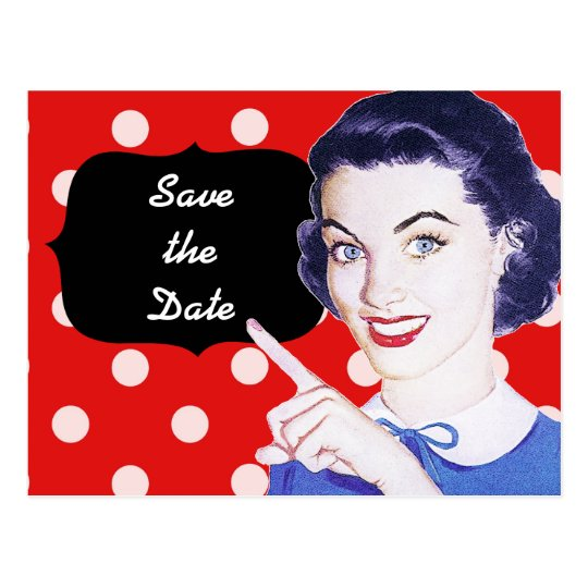 1950s Pointing Woman Save the Date Postcard
