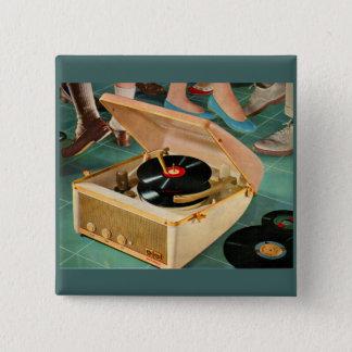 1950s portable record player ad button