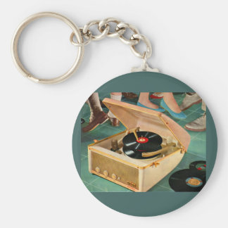 1950s portable record player ad keychain