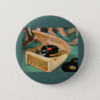 1950s portable record player ad pinback button