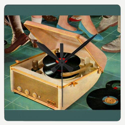 1950s portable record player ad square wall clock