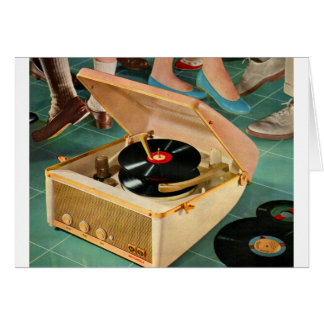 1950s portable record player advertisement greeting card