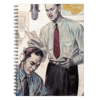 1950s Reliance shirts ad with radio broadcasters Notebook