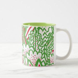 1950s Retro-Art - Christmas Colors Two-Tone Coffee Mug