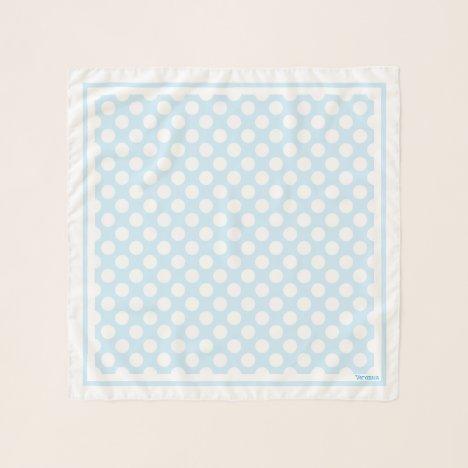 1950's Retro Designer Blue Polka Dots Neck Hair Scarf