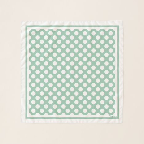 1950's Retro Designer Green Polka Dots Neck Hair Scarf