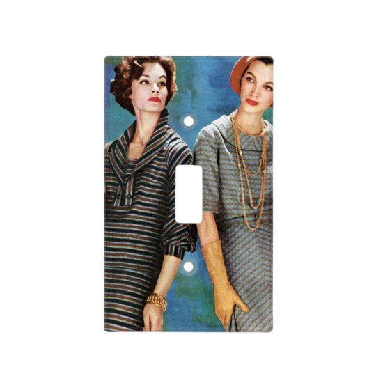1950s retro vintage glamour 2 women light switch cover
