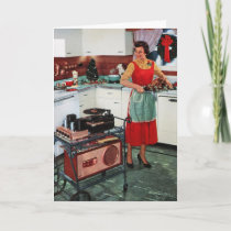 1950s retro vintage housewife in kitchen & turkey holiday card