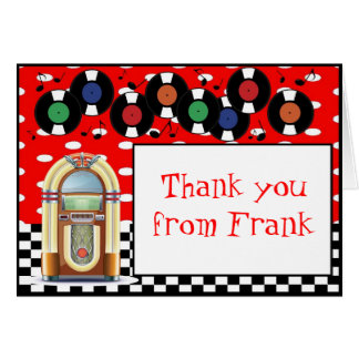 1950s Rock n Roll Birthday Thank You Note Card