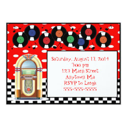 1950s Rock n Roll Juke Box Birthday Invitations
