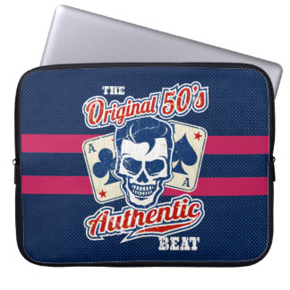 1950's Rockabilly Skull and Aces Laptop Sleeve
