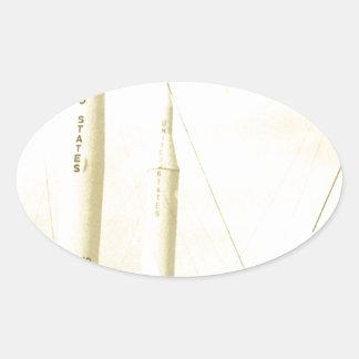 1950's Rocket Oval Sticker