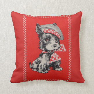 1950s Scottie dog in red Throw Pillow