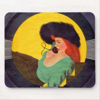 1950s sexy gal on the phone mouse pad