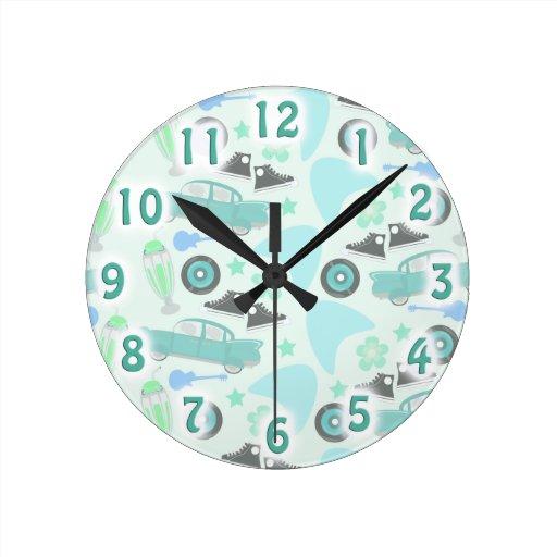 1950's Swanky Blue Retro Pattern Clocks