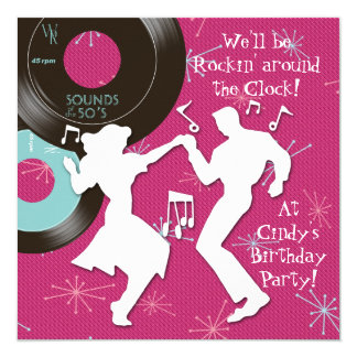 1950's Theme Birthday Party Card
