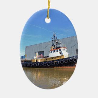 1950s Tug Boat Gluvias Double-Sided Oval Ceramic Christmas Ornament