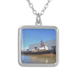 1950s Tug Boat Gluvias Square Pendant Necklace