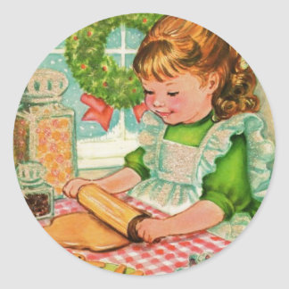 1950'S Vintage Christmas Girl Baking Cookies Classic Round Sticker