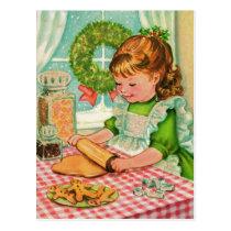1950'S Vintage Christmas Girl Baking Cookies Postcard