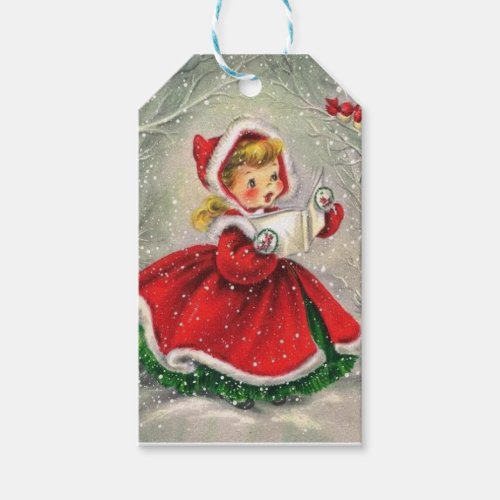 1950s Vintage Christmas Girl In Dress Gift Tags