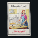 """1950's Vintage Funny Murderous Housewife Cooking Kitchen Towel<br><div class=""""desc"""">A black humor kitsch retro style towel with a vintage mid century kitchen scene,  showing a housewife who wonders where she put the arsenic. An original design available exclusively at ©Oh_Nostalgia online store. All rights reserved.</div>"""
