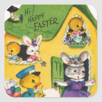 1950s Vintage Happy Easter Animals Square Sticker