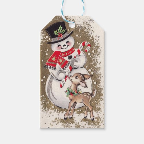 1950s Vintage Snowman With Baby Deer Gift Tags