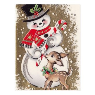 1950s Vintage Snowman With Baby Deer Postcard