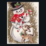"1950s Vintage Snowman With Baby Deer Postcard<br><div class=""desc"">1950s Vintage Snowman With Baby Deer</div>"